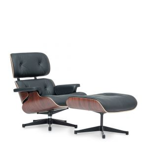 Tall Eames Lounge Chair & Ottoman in Nero & Walnut