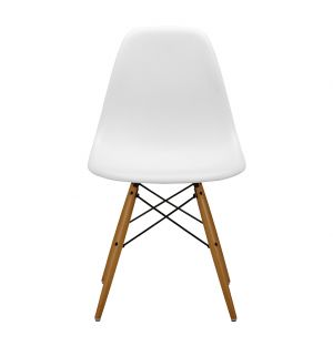 DSW Plastic Side Chair White & Maple