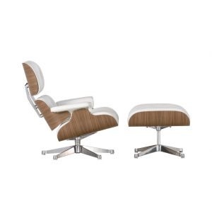 Classic Eames Lounge Chair & Ottoman White Leather & Walnut