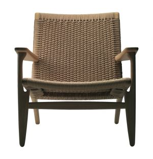 CH25 Low Armchair White Oiled Oak & Natural Paper Cord Seat