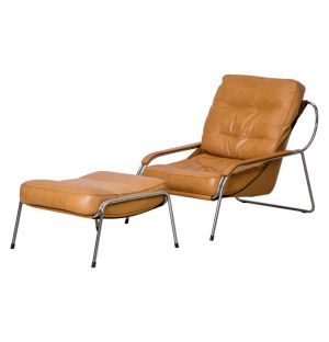Maggiolina Lounge Chair & Ottoman Tan Leather