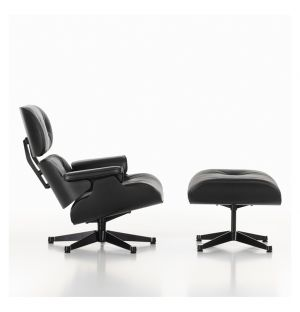 Classic Eames Lounge Chair & Ottoman All Black