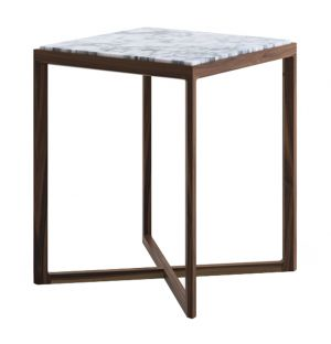 Krusin Side Table Walnut Stained Oak & Arabescato Marble Top