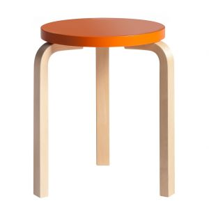 Stool 60 Seat Lacquered Orange