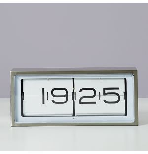 Brick 24-Hour Clock in Stainless Steel & White