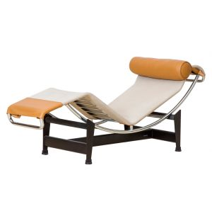 LC4 Chaise Longue Ecru Canvas & Tobacco Leather
