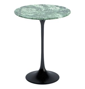 Tulip Side Table Verdi Alpi Marble & Black Base 41cm
