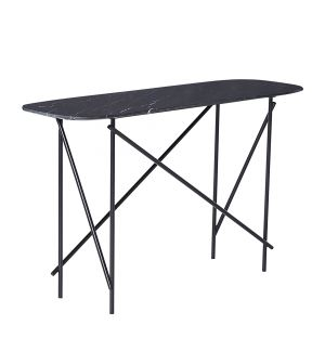 Workshop Console Table Marquina Marble & Black Low