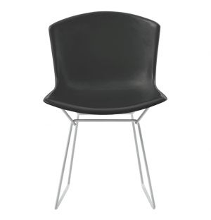 Bertoia Plastic Side Chair Black with Chrome Base