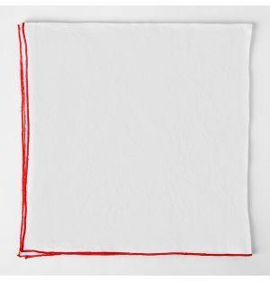 Contrast Edged Linen Napkin White & Red
