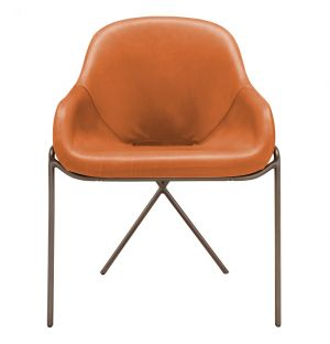 Cross Leg Dining Chair Legacy Tan Leather