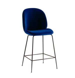 Beetle Stool Velvet With Black Legs
