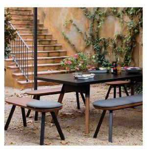 You & Me Outdoor Ping-Pong Bench in Black & Iroko