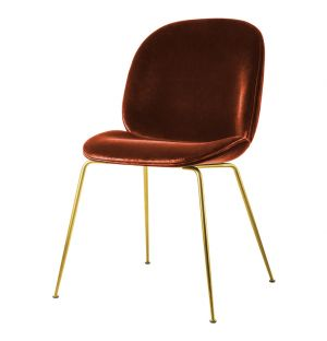 Beetle Dining Chair Dark Terracotta With Brass Legs