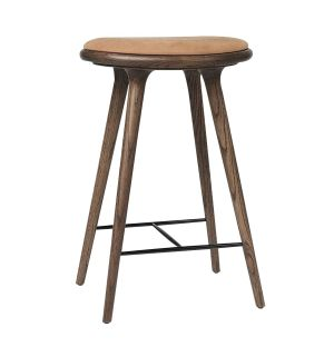 High Stool Dark Stained Oak & Leather 69cm