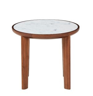 Hole Side Table Walnut & Marble
