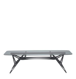 Exclusive Reale Table in Smokey Glass & Black Oak