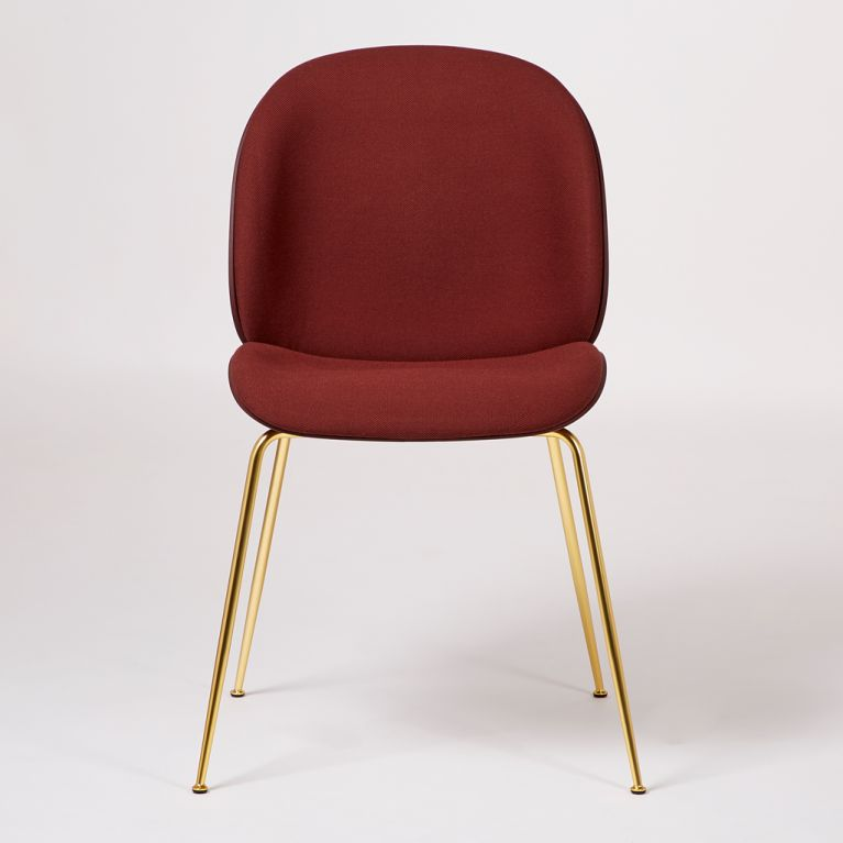 Beetle Dining Chair Front Upholstered Dark Pink Brass By Gubi At The Conran Shop