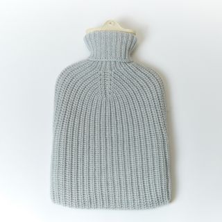 Cashmere Luxe Ribbed Hot Water Bottle in Pumice