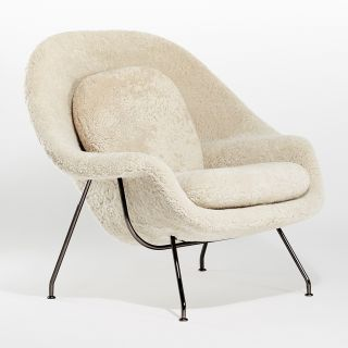 Limited Edition Womb Relax Armchair Moonlight & Black Chrome