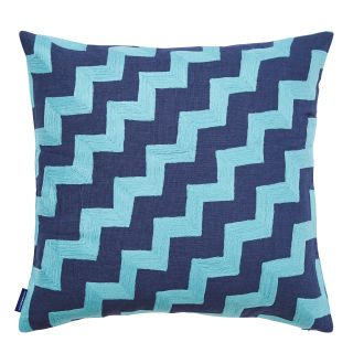 Wavy Crewel Embroidered Cushion Cover in Dark Navy & Maui Blue 45cm x 45cm