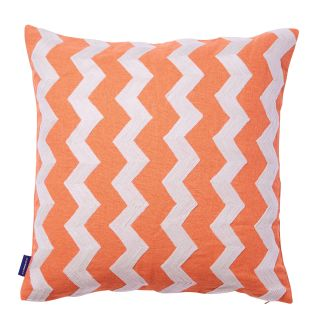 Wavy Crewel Embroidered Cushion Cover in Flamingo & Birch 45cm x 45cm