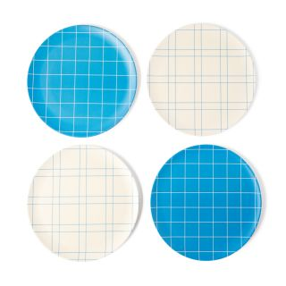 Exclusive Grid Bamboo Side Plates in Blue Set of 4