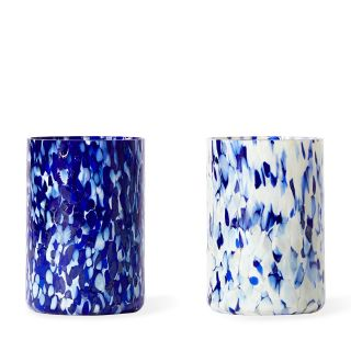Tumblers in Blue & Ivory Set of 2