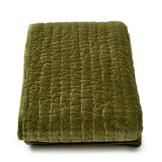Kantha Velvet Quilted Throw in Olive