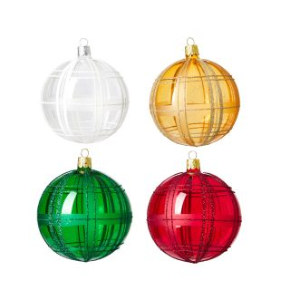 Large Glitter Check Christmas Tree Baubles Set of 4