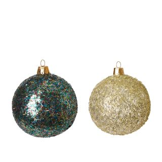 Glitter Christmas Tree Baubles in Multi Set of 2