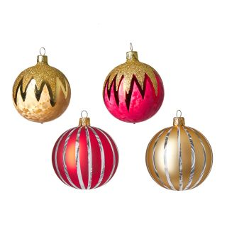 Christmas Tree Baubles in Red & Gold Set of 4